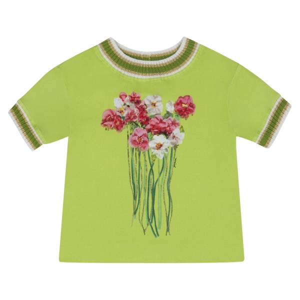 Girls Bouquet Print T-Shirt With Rib MI.MI.SOL