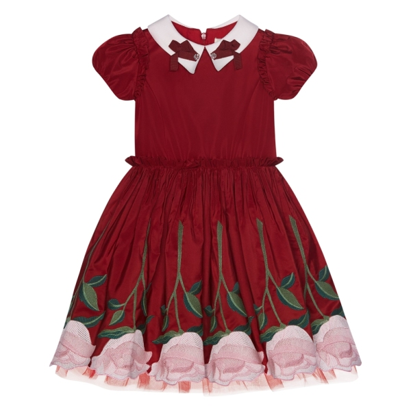 Girls Taffeta Dress With Embroidered Roses Monnalisa