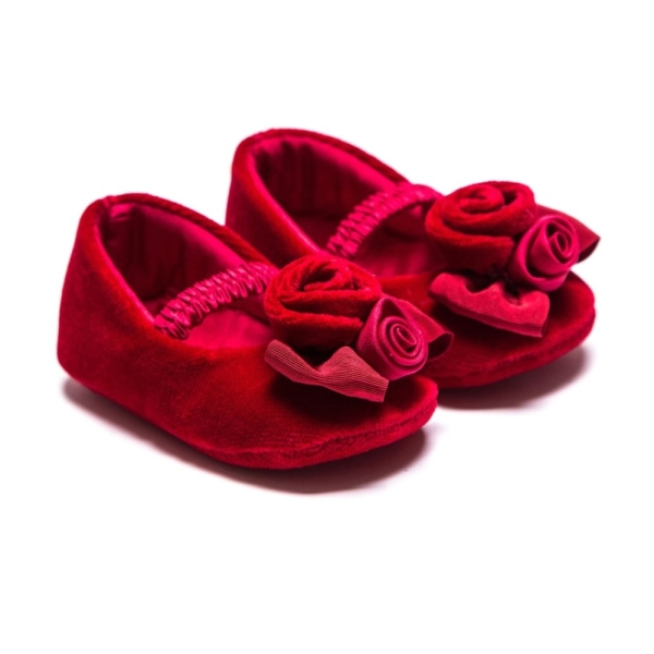 Baby Girls Velvet Baillerinas With Rose Monnalisa