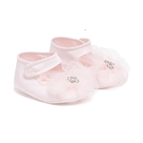 Baby Girls Tafetta Shoes With Tulle Flower Monnalisa