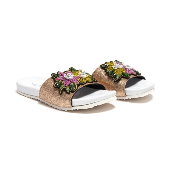 Girls Glitter Slide With Sequin Flower Patch Monnalisa